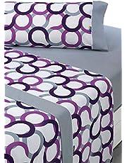 SABANALIA - Juego de sábanas Estampadas Aros (Disponible en Varios tamaños y Colores), Cama 135, Lila