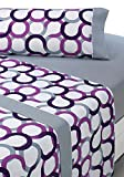 SABANALIA - Juego de sábanas Estampadas Aros (Disponible en Varios tamaños y Colores), Cama 180, Lila