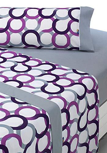 SABANALIA - Juego de sábanas Estampadas Aros (Disponible en Varios tamaños y Colores), Cama 150, Lila