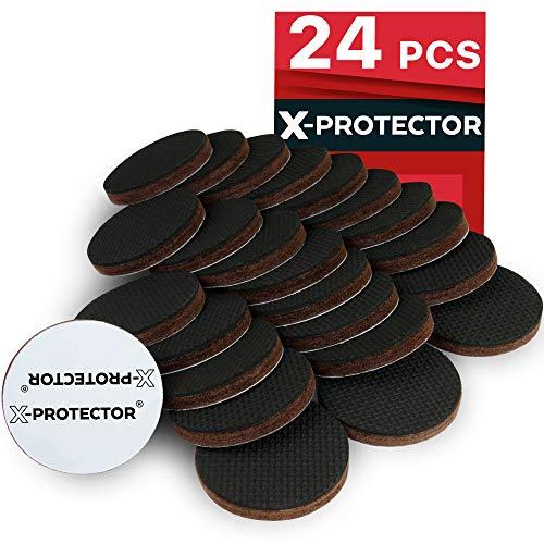 X-PROTECTOR Anti Rutsch Pad - Rutschhemmer für Möbel – 24 PREMIUM Antirutschpads 50 mm - Beste Möbelstopper - Gummifüße selbstklebend - Ideale Filzgleiter Gummi zum Fixieren von Möbeln!