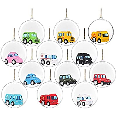 12 Clear Fillable Ball Ornaments Filled with Metal Toy Cars - Fill with Toys or Surprises for Easter Egg Hunt, Decor, Xmas Tree, Birthdays, Parties, Events