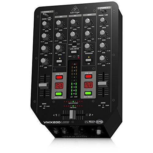 Behringer Pro Mixer VMX200USB  2-Kanal DJ Mixer mit integriertem USB/Audio Interface, BPM Counter und VCA Crossfader