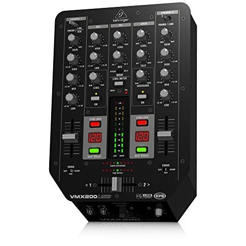 Behringer Pro Mixer VMX200USB  2-Kanal DJ Mixer mit integriertem USB/Audio Interface, BPM Counter und VCA Crossfader