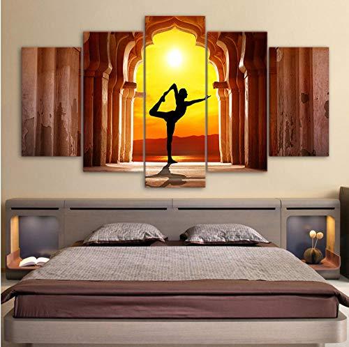 AREABP HD gedruckt 5 Stück Leinwand Kunst Yoga Fitness Twilight Hall Gemälde Wandbilder für Wohnzimmer Poster-Ohne Rahmen_20X55cm