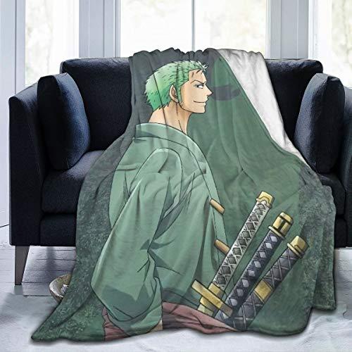 JICOTIA ONE Piece Roronoa Zoro Anime Luxury Flannel Fleece Blanket Throw Blanket Warm Lightweight Bed Blanket Cozy Microfiber Blanket Polar Fleece Blanket Travel Blanket 60'x50'