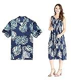 Couple Matching Hawaiian Luau Aloha Shirt Elastic Tank Dress in Palm Leaves in Navy L