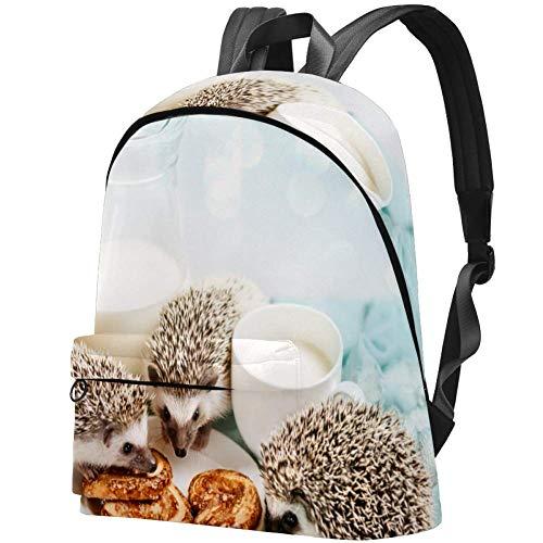 TIZORAX Rucksack für Frauen Igel Essen Brot Große Schultaschen Rucksack Casual Daypack für Reisen Wandern