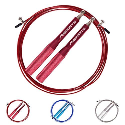 MSPORTS Springseil - Speed Rope Professional - Aluminium Studio Qualität | Sprungseil (Rot)