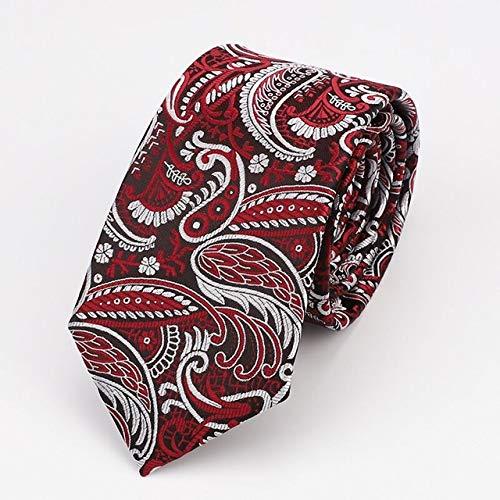 DJLHNNueva Corbata Paisley de 7 cm, Corbata Delgada con Estampado Floral para Hombres - 86