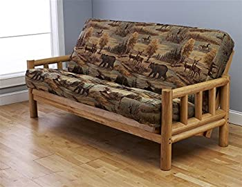 Futon Frame and Full Size Mattress Set This Rustic Log Frame Sofa Set Easily Converts to Full-size Bed Nice The Wildlife Upholstery Is Great in Hunting Cabin Cottage or Log Home 8 Thick Sleeper P