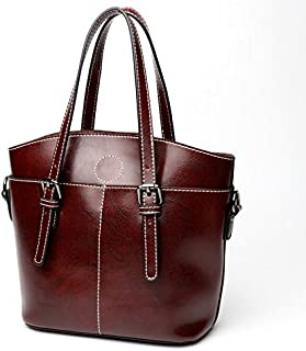 Leather 2018 New Ladies Handbags Cool Fashion Leather Handbags Female Cowhide Wallet Large Capacity Handbag Waterproof (Color : Purple, Size : M)