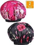 2 Piezas de Gorro de Satén de Banda Ancha Gorra de Dormir de Noche Suave para Mujeres y Chicas (negro y rojo rosado)