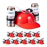 Relaxdays 10 x Party Trinkhelm, Helm mit Schlauch, für 2 Dosen Bier, Spaßartikel Fasching u. Fußball, lustiger Bierhelm, rot