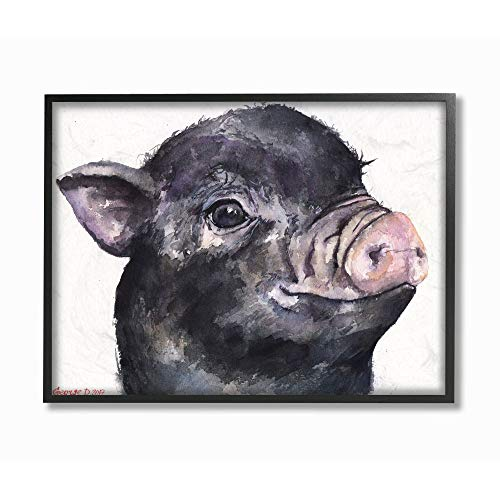 Stupell Industries Cute Pig Baby Animal Watercolor Painting Black Framed Wall Art, 16 x 20, Multi-Color