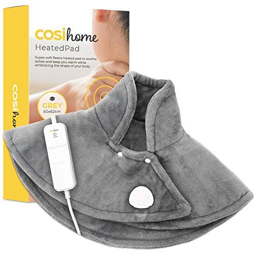 Cosi Home Almohadilla Térmica para Cervicales y Hombros - Franela Súper Acogedora, Control Remoto y 3 Configuraciones de Calor