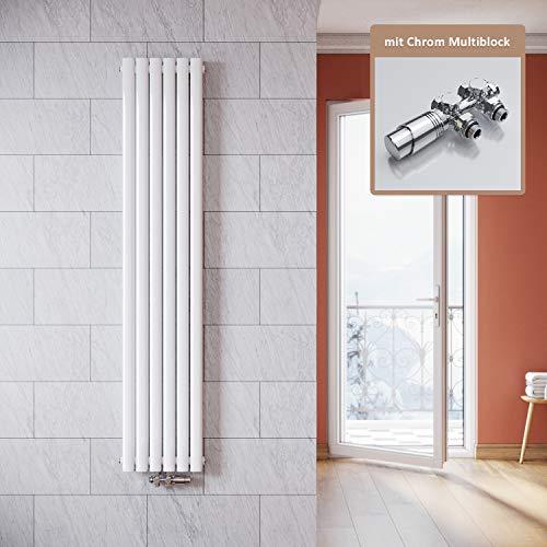 ELEGANT Vertikal Heizkörper Design Weiß 1800x354mm mit Multiblock Chrom Thermostat Röhrenheizkörper Doppellagig Badheizkörper Mittelanschluss