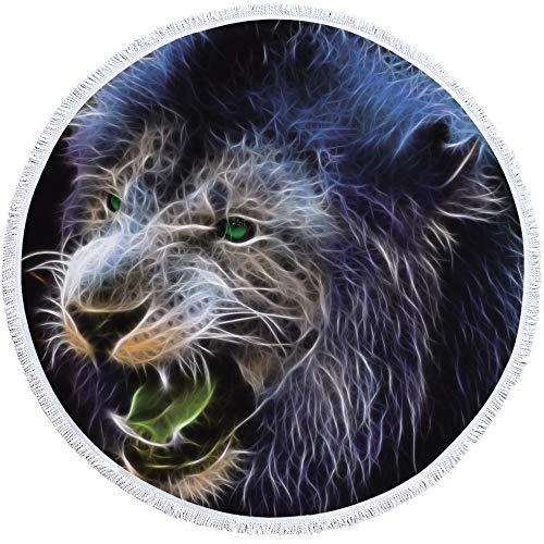 Sticker Superb 3D Lion Animal Serviette de Plage Ronde,Couverture de Plage en Polyester Printemps Été Couverture d'hiver,Garçon Fille Couverture de Yoga(Lion 3, 150cm)