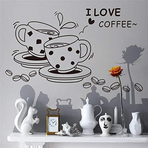 mlpnko Kaffeetasse Vinyl Wandaufkleber Zitate Küche DIY Wandkunst Aufkleber Dekoration Ofen Speisesaal Tapeten Wandtattoos PVC-Material-42x40cm