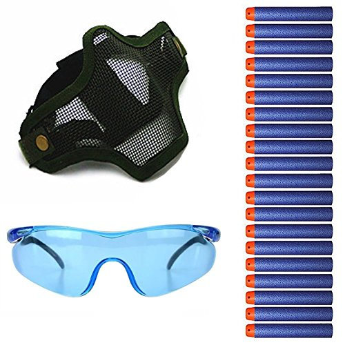 Tocone Niños Máscara Camuflaje Gafas de Protección +20pcs Dardos Élite Juguete Accesorios Kit Para Nerf Guns Pislota N-Strike Elite Series Batalla