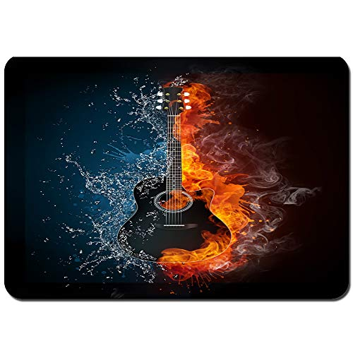 YANAIX Alfombra de Baño,Guitarra Acústica Fuego Agua Ilustración Elementos Imprimir,Súper Suave Multiuso Lavable a Máquina75x45cm