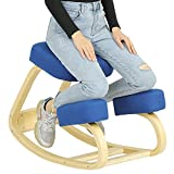 VIAGDO Ergonomic Kneeling Chair for Home Office Posture Corrective Angled Seat Orthopedic Rocking Kneeling Chairs Back & Neck Pain Relieving Rocking Desk Chair-Wood &Thick Linen Cushion