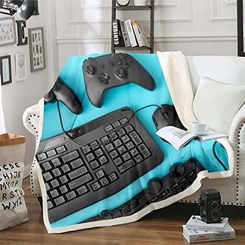 Homewish Teen Boys Gamer Plush Throw Blanket,Video Games Keyboard Mouse Controller Bed Blanket Gaming Equipment Fleece Throw Blanket,Fashion Decorative Blanket King 87'x95'