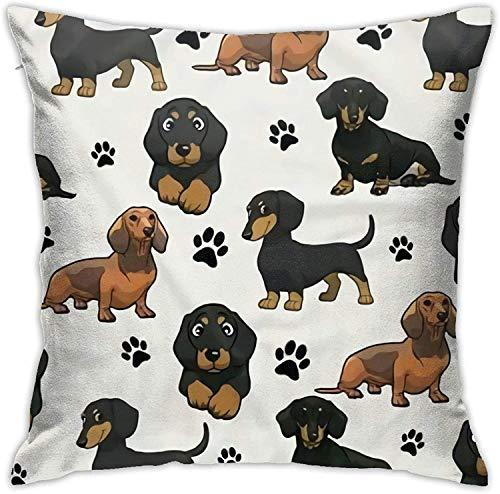 MODORSAN Dachshund Dog Footprints Premium Hypoallergenic Stuffer Pillow Insert Sham Square Form Polyester, 18' x 18',