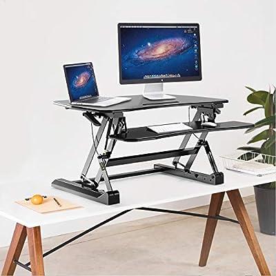 Ergousit Standing Desk Converter, Sit Stand Computer Desk Workstation, 36 Inches Adjustable Stand Up Office Desk Riser Ergonomic Tabletop Workstation Riser with Keyboard Gaming Desk (Black)
