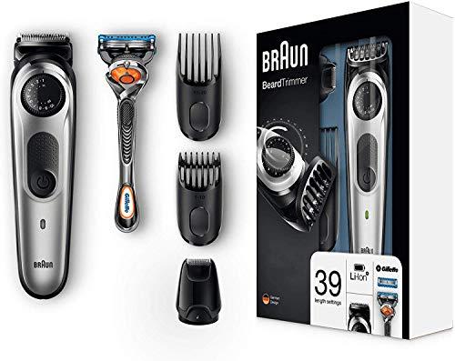 Braun Recortadora Barba BT5065 Recortadora de Barba y Cortapelos, Afeitadora Mini, con Cuchillas Afiladas, incluye Maquinilla Gillette Fusion5 ProGlide con Tecnología FlexBall,  Negro/Plata