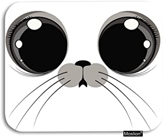 Moslion Seal Mouse Pad Cute Animal Cartoon Seal Face with Big Eyes Beard Gaming Mouse Pad Rubber Large Mousepad for Computer Desk Laptop Office Work 7.9x9.5 Inch Beige