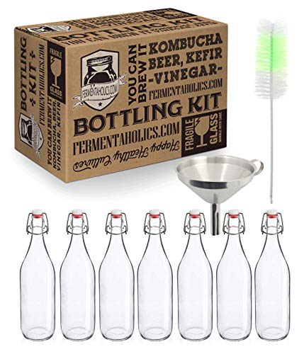 Kombucha Bottling Kit - Includes 7 Glass Flip Top Bottles + Compact Collapsable Silicone Funnel + Cleaning Brush   Airtight, High-Pressure Bottles For Fermenting Kombucha, Kefir, Ginger Beer, etc