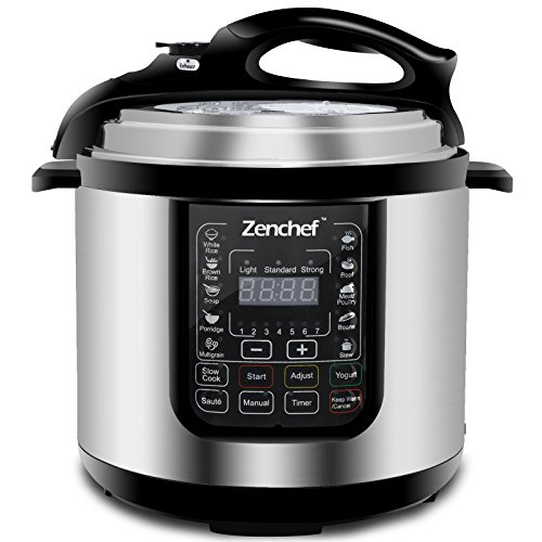 Zenchef 14-in-1 NEWEST 6 Qt Multifunctional Stainless Steel Electric Pressure Cooker 1000W w/LED Display Screen, Slow Cooker, Rice Cooker, Sauté, Steamer, Yogurt Maker & Food Warmer