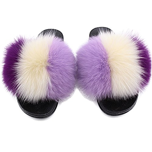 Xunxun Women Real Fox Fur Feather Vegan Leather Open Toe Single Strap Slip On Sandals (7B(M) US, Taro Purple)
