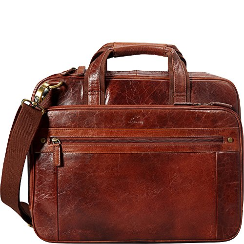 """Mancini Leather Goods Buffalo Leather Double Compartment 15.6"""" Laptop Briefcase"""
