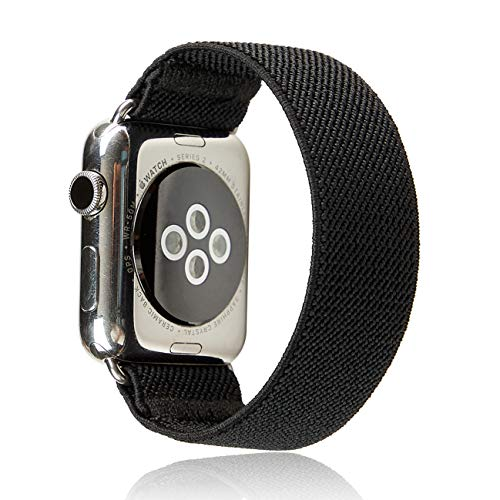 Elastic Band Compatible for Apple Watch, Scrunchie Stretch Wristbands Replacement Bracelet Loop Sport Strap for iWatch Series 1 2 3 4 5 6 SE, Men Women Girls, Black, 38/40mm, S