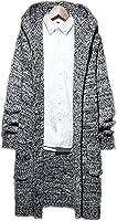 ulricar メンズ カーディガン ニット セーター フード コート ジャケット ロング丈 大きいサイズ M~5XL カジュアル 春 グレーB5XL