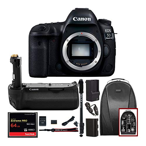 Canon EOS 5D Mark IV Full Frame Digital SLR Camera Body DSLR Bundle + Original Canon BG-E20 Battery Grip + 64GB SD Card Backpack & Double Battery Charger - Advanced Photography & Travel Bundle