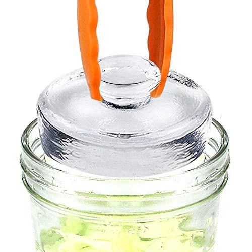 Artcome Paquete de 5 pesos de fermentación de vidrio con mango de fácil agarre y diseño único de textura para tarros grandes de boca ancha
