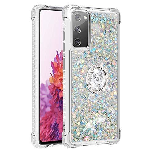 Carcasa para Samsung Galaxy S20 Lite S20 FE 4G / 5G-S20 Fan Edition, brillante cristal diamante, anillo base de teléfono líquido degradado transparente, silicona TPU carcasa antigolpes (plata)