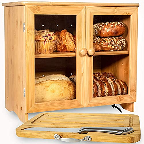 Kitchen Large Bamboo Bread Box For Kitchen Countertop, Comes With Thick Bamboo Cutting Board And Stainless Steel Bread Knife. Rustic Bamboo Bread Box With Adjustable Shelf. (easy Self-assembly)