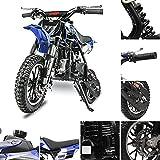 FRP DB001 50CC 2-Stroke Kids 50CC Dirt Bike EPA Approved Mini Dirt Bike, Kid Dirt Bike Oil Mixed Needed, Shock Absorption Speed Up 20 Mph, Dirt Bike Gas Weight Support 160 LB Dual Bakes (Blue)