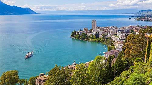 PANDABOOM Rompecabezas De 1500 Piezas, Montreux Y El Lago De Ginebra, Suiza, Puzzle Juguete De Madera Decoración De Interiores