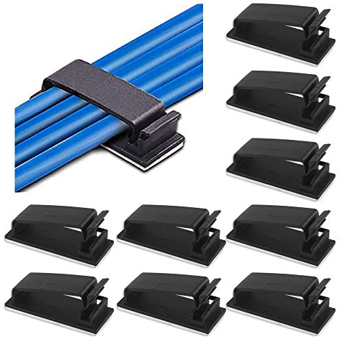 Selbstklebend kabel halter 60Pcs Kabel Clips kunststoff kabelklemme Verstellbaren schreibtisch Kabel Organizer für Büro & Zuhause