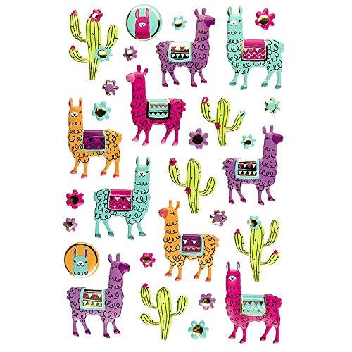 Sticker   Aufkleber   Abziehbilder   Stickerbögen mit diversen Motiven, Bogengröße 14 x 21 cm (Lamas 2)