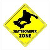 Skateboarder Crossing Sign Zone Xing | Indoor/Outdoor | 14' Tall Sport Skateboarding Skateboard Wheels Trucks