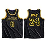 QPY Camiseta de baloncesto Laker con estampado de serpiente negra para hombre, camiseta sin mangas unisex (S-XXL) Bryant8+24-XXL