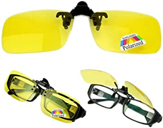 Polarized Day Night Vision Flip up Clip on Lens Driving Sunglasses S Size Yellow [ETH-P4]