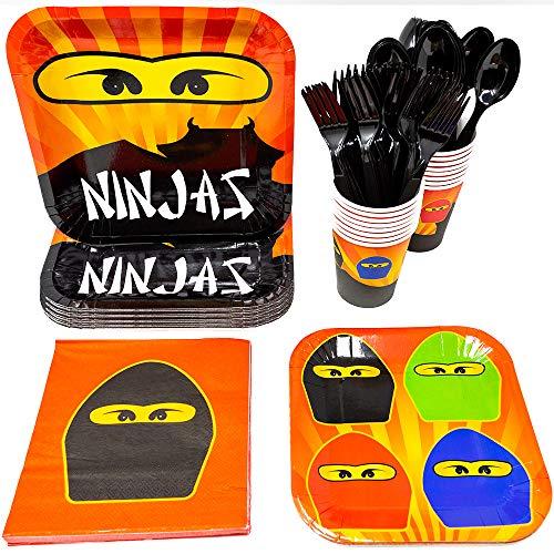 Blue Orchards Ninja Master Party Supplies Packs (113+ Pieces for 16 Guests!), Ninjago-Inspired Birthday Sets, Ninjago Tableware Packs