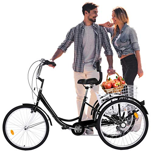 Adult Tricycles 7 Speed, Adult Trikes 24 inch 3 Wheel Bikes, Three-Wheeled Bicycles Cruise Trike with Shopping Basket for Seniors Women Men,Black 【Fast Delivery from US】