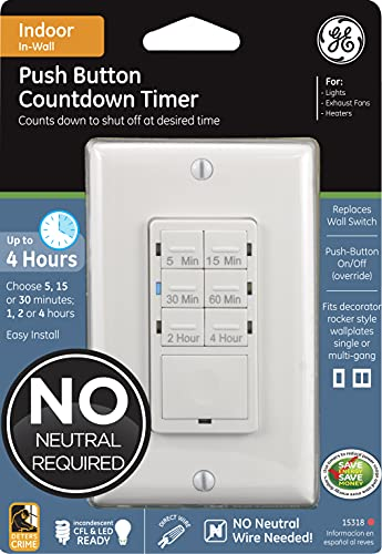 GE Push-Button Countdown Timer Switch, 5-15-30 Minute/1-2-4 Hour, ON/Off, No Neutral Wire Needed, Ideal for Lights, Exhaust Fans, Heaters, Wall Plate Included, 15318 , White